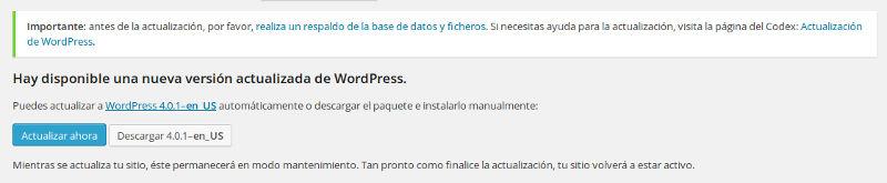 desactivar las actualizaciones automáticas de wordpress