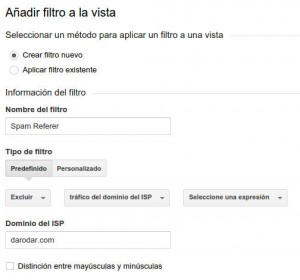 filtrar spam con analytics